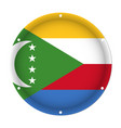 round metallic flag of comoros with screw holes vector image vector image