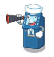 sailor with binocular atm machine next to vector image vector image