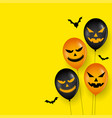 scary balloon and bats on happy halloween card vector image