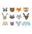 set of cute cartoon hand drawn animals vector image