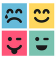set of four colorful emoticons with emoji faces vector image