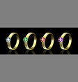 set of rings with colored gems on black background vector image vector image