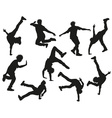 Silhouette of a Guy Break Dancing vector image