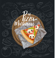 the mushroom pizza slice with background vector image vector image