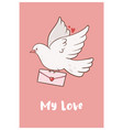 valentine s day card with dove graphics vector image