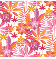 vibrant pink and yellow tropical seamless pattern vector image
