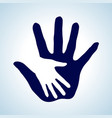 white and blue of hand in hand concept of help vector image vector image