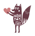 with fox holding heart and mountains landscape vector image vector image