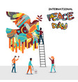 world peace day card of diverse people team work vector image