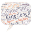 Your Experience The Leadership Talk Great vector image vector image