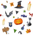 halloween elements seamless watercolor pattern vector image