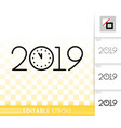 2019 new years eve simple black line icon vector image vector image