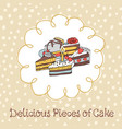 54-3 card with various cupcakes on a beige vector image vector image