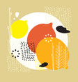 abstract and floral elements colorful lemons vector image vector image