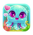 app icon with funny cartoon little baoctopus vector image vector image