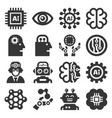 artificial intelligence ai icons set on white vector image vector image