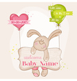Baby Girl Arrival Card - with Cute Baby Bunny vector image