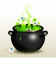 black witches cauldron with green potion vector image vector image