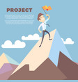 business man holding flag on mountain peak vector image vector image