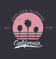california design for t-shirt with palm vector image
