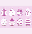 cartoon set easter painted eggs vector image vector image