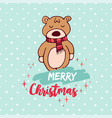 christmas cute holiday baby bear cartoon card vector image
