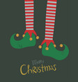 elf legs christmas greeting card vector image vector image
