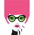 fashion girl art in minimalistic hipster vector image vector image