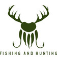fishing and hunting with deer hornspaw of bear and vector image