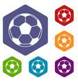 football or soccer ball icons set hexagon vector image vector image
