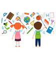 girl and boy catches of school supplies vector image