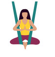 girl doing aerial yoga healthy lifestyle vector image