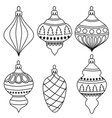 hand drawn outline christmas balls collection for vector image