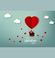 happy valentine day greeting card air balloon vector image
