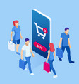 isometric online shopping concept people shop vector image vector image