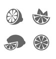lemon set of black icons on white background vector image