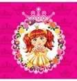 little princess red hair on a pink background vector image vector image