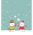 Loving couple of snowmen with gifts vector image