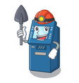 miner atm machine next to character table vector image vector image