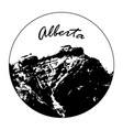 miss cascade mountain with alberta text vector image
