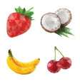 mosaic fruits coconut banana strawberry cherry vector image vector image