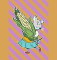 mouse fantastic character with corn cob vector image vector image