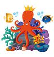 octopus wearing crown underwater vector image
