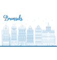 Outline Brussels skyline vector image vector image