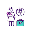 overwhelmed working mother rgb color icon vector image
