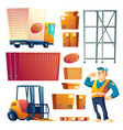 postal delivery service cartoon icons set vector image vector image