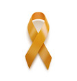 realistic yellow ribbon 3d icon isolated on white vector image