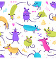 seamless pattern with cute rats funny little mice vector image vector image