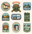 set hunting club and hiking club badge vector image vector image
