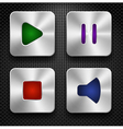 Set of steel audio web icons vector image vector image